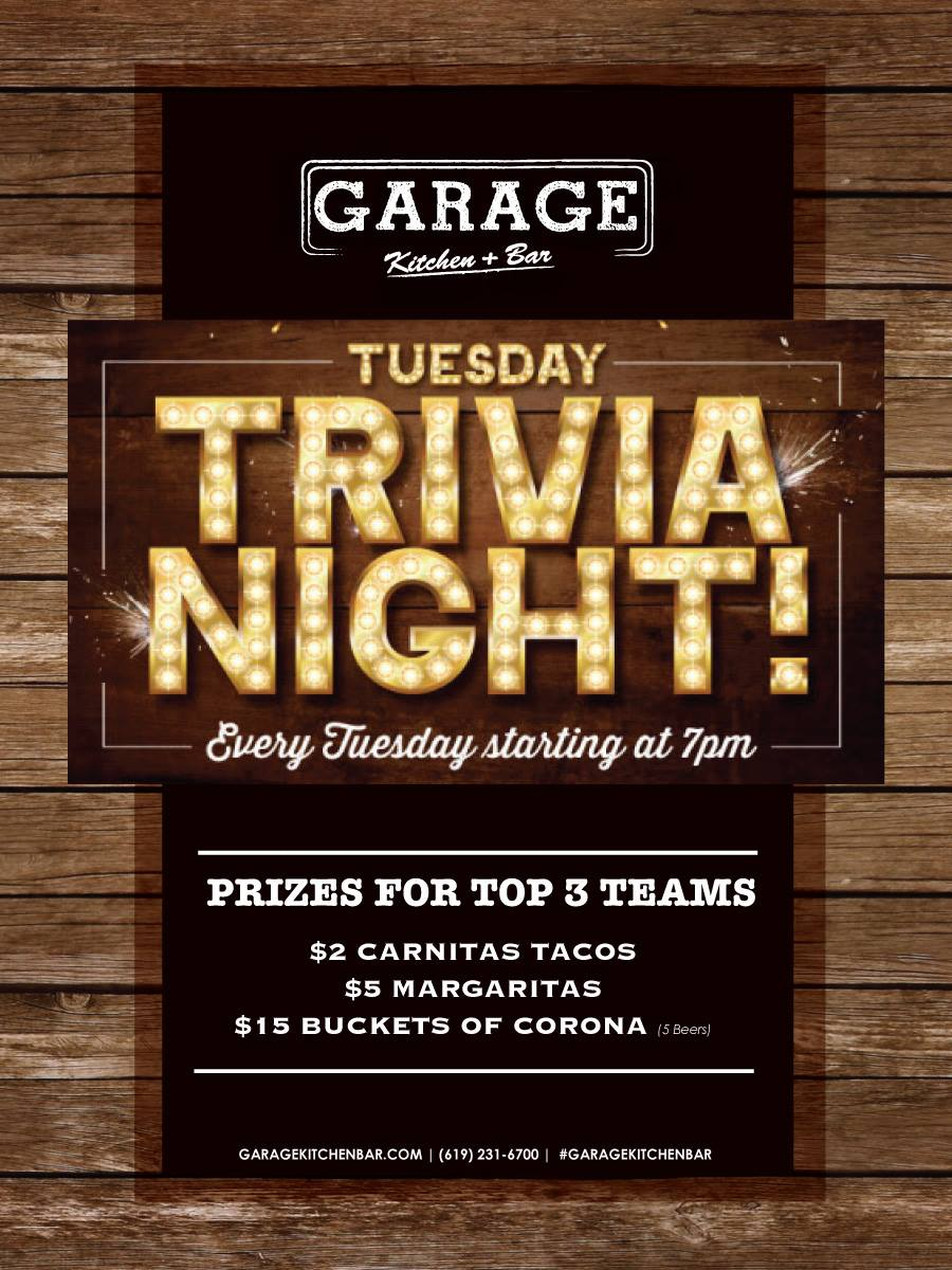 Join us for Trivia Night every Tuesday at 7pm. Prizes for top 3 Teams